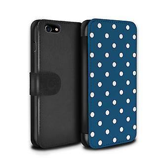 STUFF4 PU Leder Brieftasche Flip Case/Cover für das Apple iPhone 7 / Petrol / Polka Dot Design / Winter-Mode-Kollektion