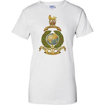 Licensed MOD - Royal Marines Globe And Laurel Insignia - Per Mare Per Terram - Ladies T Shirt