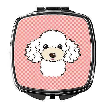Carolines Treasures  BB1257SCM Checkerboard Pink White Poodle Compact Mirror