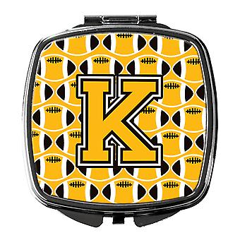 Letter K Football Black, Old Gold and White Compact Mirror