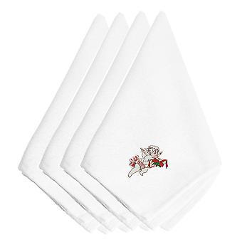 Kerst Cherub lint geborduurde servetten Set van 4