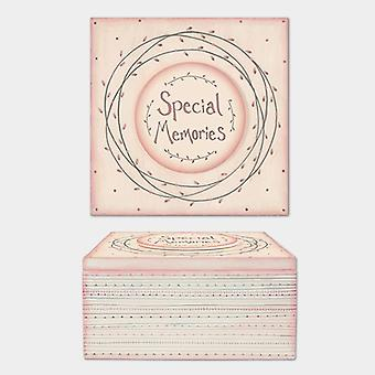 East of India Large Wooden Striped Pale Pink and Cream Keepsake Box Special Memories