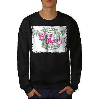Long Beach Palm Men BlackSweatshirt | Wellcoda