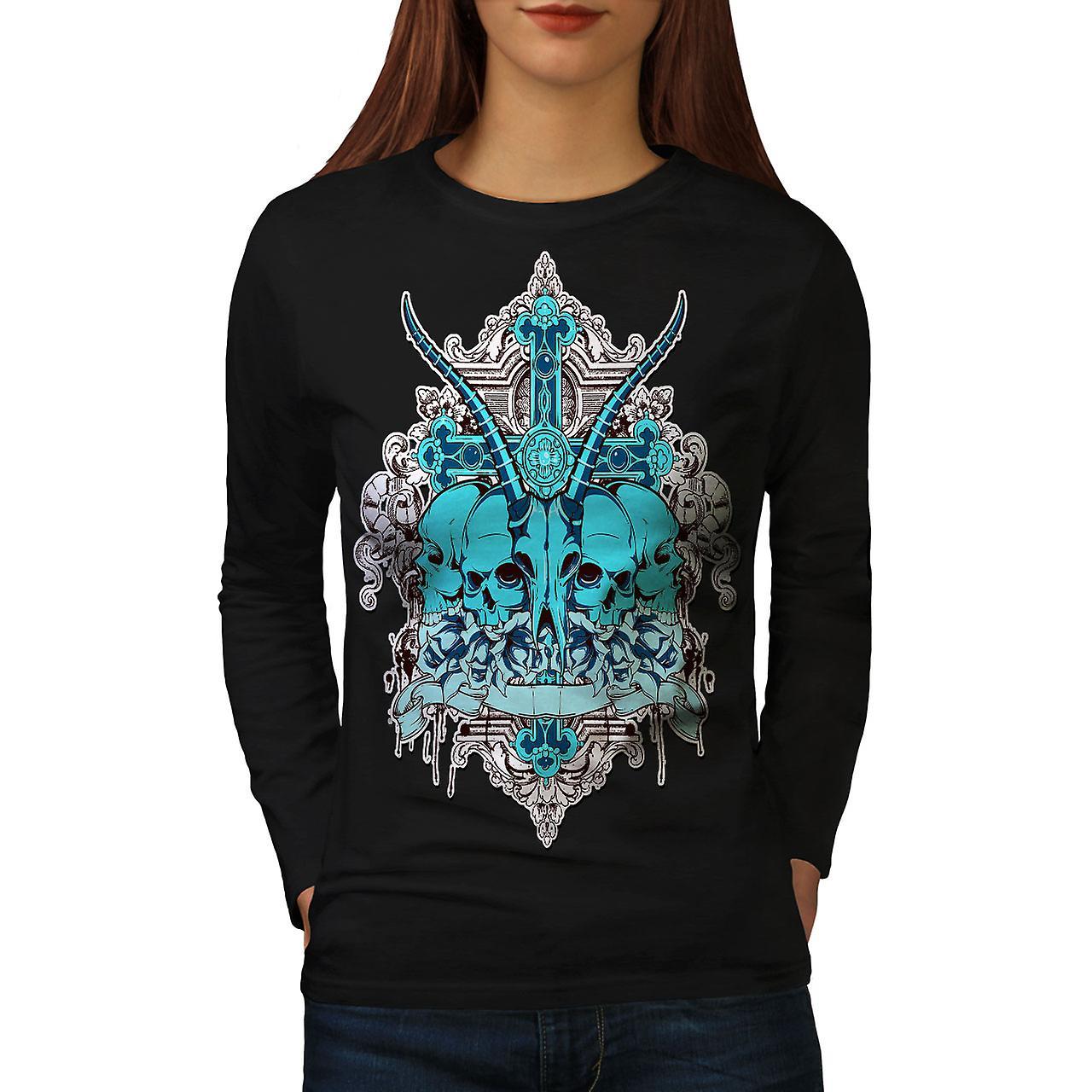 Dead Animal Cross Women BlackLong Sleeve T-shirt | Wellcoda