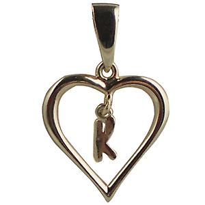9ct Gold 18x18mm heart Pendant with a hanging Initial K