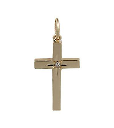9ct Gold 20x13mm Diamond Set Cross
