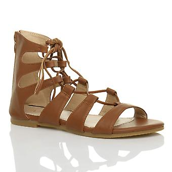 Ajvani womens flat lace up cross over wrap around strappy sandals shoe