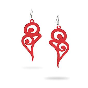 Buckles of ears woman Pendantes hooks long curves in Silicone Red