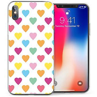 iPhonegeval X Pastel harten TPU Gel - wit / roze