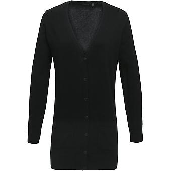 Premier Womens/Ladies Longline Knitted V Neck Corporate Cardigan