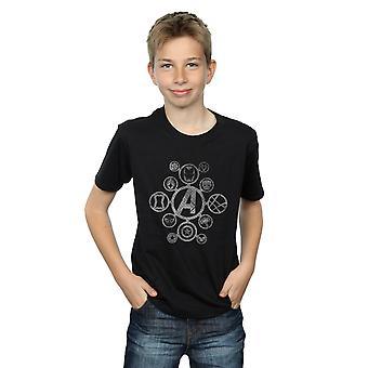 Marvel Boys Avengers Infinity War Distressed Metal Icons T-Shirt