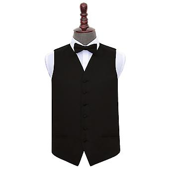 Black Plain Satin Wedding Waistcoat & Bow Tie Set