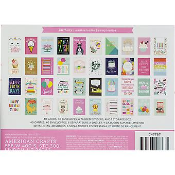American Crafts Greeting Cards W/Envelopes 40/Box-Birthday W/Gold Foil