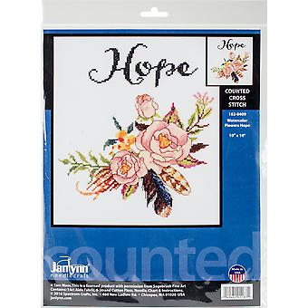 Watercolor Flowers Hope Counted Cross Stitch Kit-10