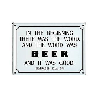 In The Beginning..Beer Funny Miniature Sign / Fridge Magnet