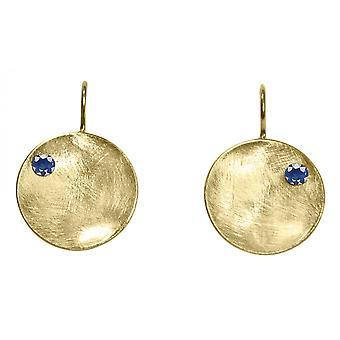 Gemshine - Damen - Ohrringe - Ohrhänger - 925 Silber - Vergoldet - Schale -  Geometrisch - Design - Iolith - Blau - 3 cm