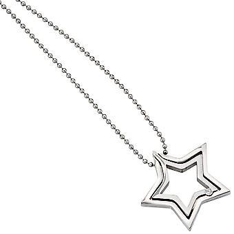 Collana con cuore ciondolo stella inox acciaio catena stelle Fiorentino