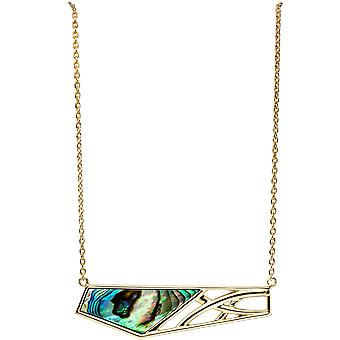 Collier statement necklace abalone 925 Silver gold plated 45 cm chain