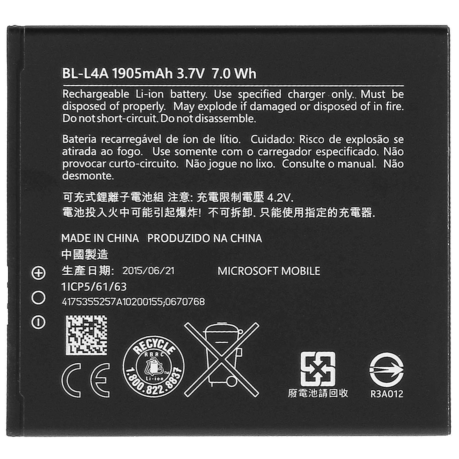 Battery for Microsoft Lumia 535, BL-L4A 1905mAh Replacement Battery