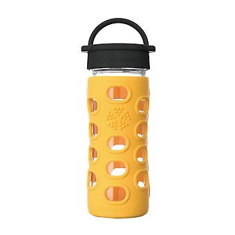 Lifefactory 12 oz Glass Water Bottle Classic Cap and Silicone Sleeve Marigold