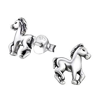 Horse - 925 Sterling Silver Plain Ear Studs - W26814x