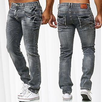 Mens Jeans Regular Fit Destroyed Stonewashed Used Ripped Grey Denim Trousers