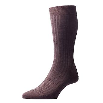 Pantherella Laburnum Rib Merino Wool Socks - Dark Brown Mix