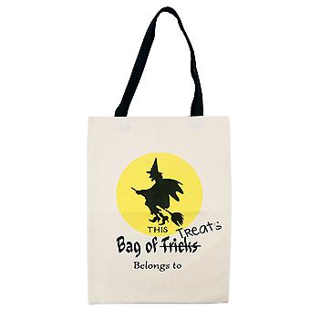 TRIXES Halloween Witch Trick or Treat Canvas Bag
