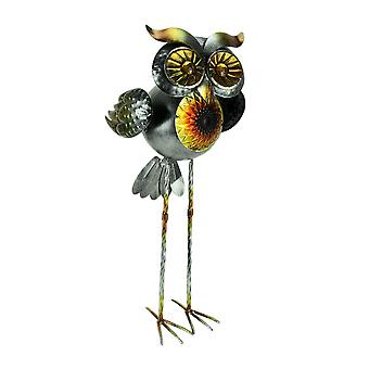 Metal Art Solar LED Lighted Owl Sculpture with 2 Stands