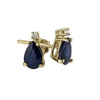 14k Yellow Gold Pear Shaped Sapphire And Diamond Earrings
