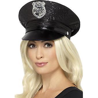 Koorts Sequin politie hoed, zwart