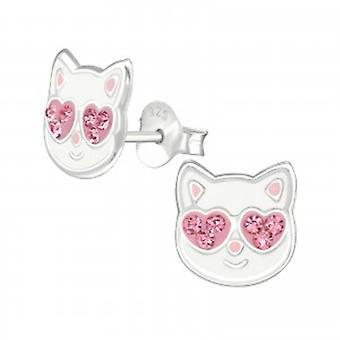 Girls white with pink crystals cat stud earrings