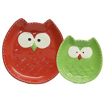 Junction 18 Owl Plate Set 44602 Green Red