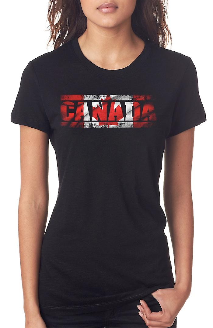Canadian Canada Flag - Words Ladies T Shirt