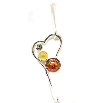 The Olivia Collection Sterling Silver Tri-Colour Amber Heart Bangle