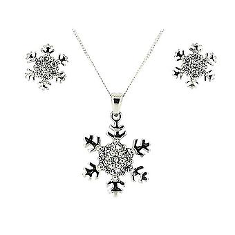 TOC Sterling Silver CZ Set Snowflake Earrings & Pendant Necklace 18
