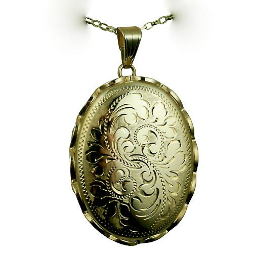 9ct Gold 37x28mm oval hand engraved fancy wire edge Locket with a belcher Chain 18 inches