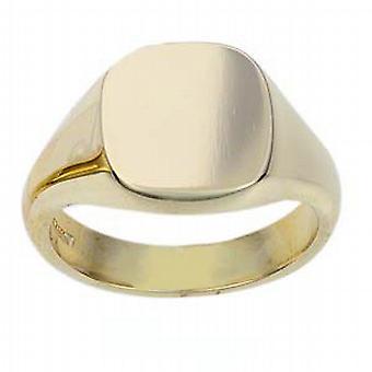 9ct Gold 14x13mm solide schlichte Kissen Siegelring Größe R
