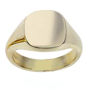 9ct Gold 14x13mm solid plain cushion Signet Ring Size S
