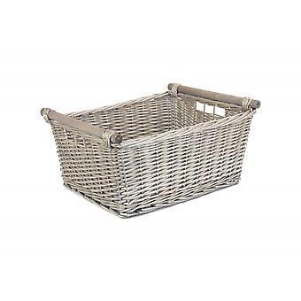 Extra Large Grey Wash Wooden Handled Storage Basket