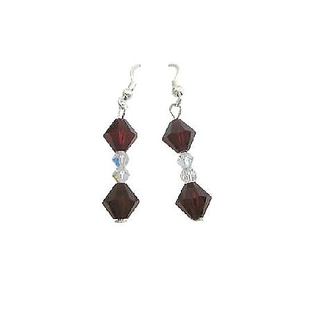 Swarovski Garnet Crystals Clear Crystals Handcrafted Sterling Earrings