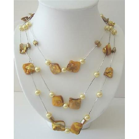Shell & Pearl Lemon Shell & Simulated Yellow Pearl 26 Inches Necklace