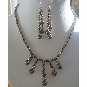 Swarovski mörk Topaz & Champagne pärlor halsband Set