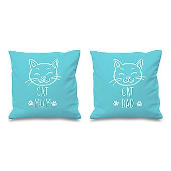 Cat Mum Cat Dad Aqua Cushion Covers 16