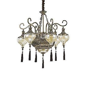 Ideal Lux - Harem Antique Brass And Glass Nine Light Chandelier IDL116006