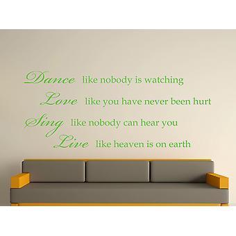Dance Like Nobody Is Watching Wall Art Sticker - Apple Green