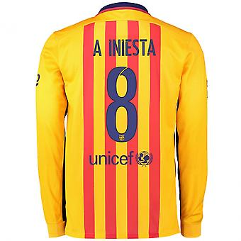 2015-2016 Barcelone chemise à manches longues Away (A.Iniesta 8)