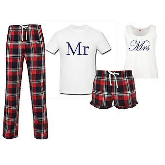 Mr and Mrs Wedding Couples Matching Pyjama Tartan Set