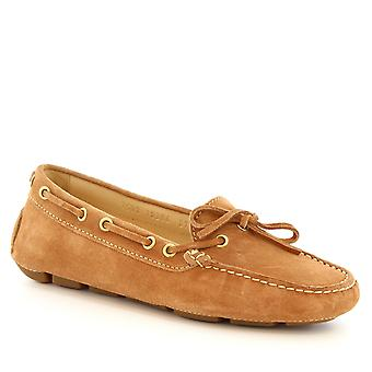 Leonardo Shoes Women's handmade driving loafers with laces in beige suede