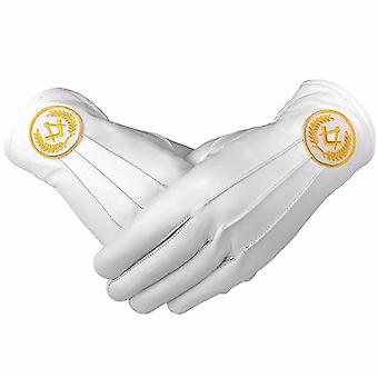 Masonic Regalia White Soft Leather Gloves Square Compass Yellow